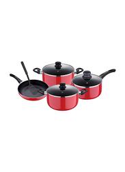 RoyalFord 8-Pieces Non-Stick Aluminium Cookware Set, RF7923, 15.2x30.6x55.6cm, Red
