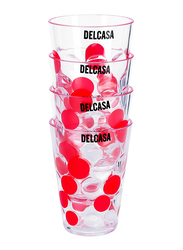 Delcasa 270ml 4-Piece Plastic Cup Set, DC1756, Clear/Red