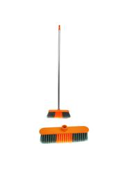Delcasa PVC Coated Broom with Wooden Handle, Orange/Grey