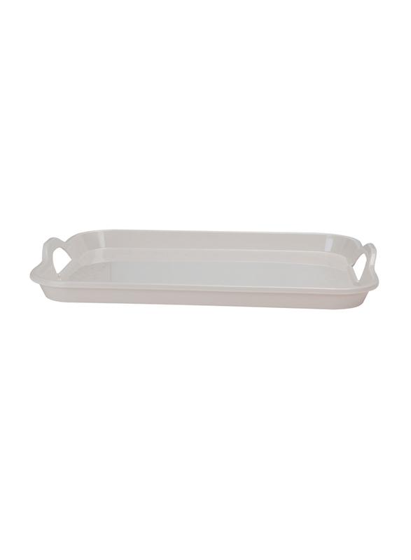 Royalford 15-inch Classic Design Melamine Rectangular Handle Tray, RF5064, White Pearl