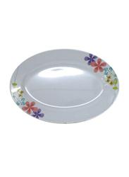 Royalford 9.5-inch Star Thai Carnation Melamine Oval Pasta Plate, RF7110, White