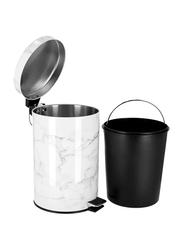 RoyalFord Marble Design Plastic Dust Bin, 7 Liters, White