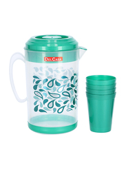 Delcasa Plastic Water Jug with 4 Glasses, DC1513, Green/Clear