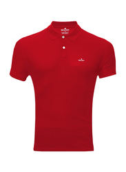 Bouso Short Sleeve Polo Shirt for Men, Small, Red