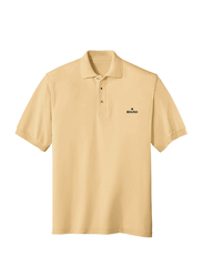 Bouso Short Sleeve Polo Shirt for Men, Small, Oat Meal Beige