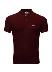 Bouso Short Sleeve Polo Shirt for Men, Small, Maroon