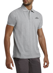 Bouso Short Sleeve Polo Shirt for Men, Small, Grey