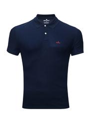 Bouso Short Sleeve Polo Shirt for Men, Small, Navy Blue