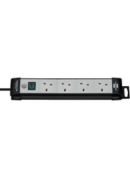 Brennenstuhl 4 Way Premium Extension Socket, 1.8-Meter Cable, Black/Grey