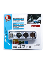 All Ride 3.1A Portable Dual USB Charger, 12/24V Power, Black