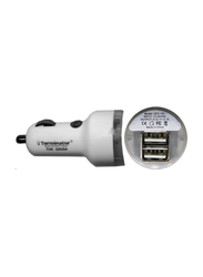 Terminator USB Car Charger with 2.1A Dual USB Ports, White