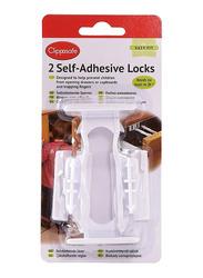 Clippasafe Self-Adhesive Cupboard & Drawer Locks, 2 Pieces, White
