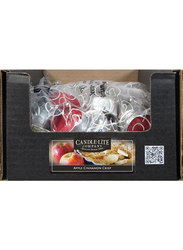 Candle Lite 4-Pieces Everyday Essential Tealight Apple Cinnamon Crisp Indoor/Outdoor Candle, Red