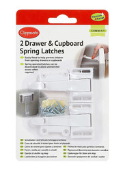 Clippasafe Drawer & Cupboard Spring Latches, 2 Pieces, White