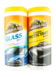 Armor All Protectant & Glass Wipes Twin Pack, 2 x 25 Wipes