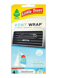 Little Trees Vent Wrap Bayside Breeze Air Freshener, 4 Pack
