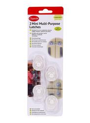 Clippasafe Mini Multi-Purpose Latches, 2 Pieces, White