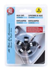 All Ride Aluminum Valve Caps, Black/Silver, 5 Pieces