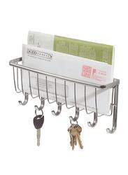 Interdesign York Lyra Wallmount Mail and Key Rack, Silver