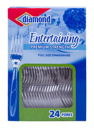 Diamond Vision 24-Piece Plastic Fork Set, Clear