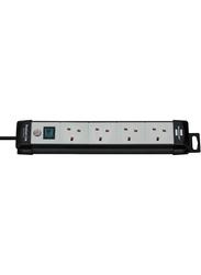 Brennenstuhl 4 Way Premium Extension Socket, 3-Meter Cable, Black/Grey