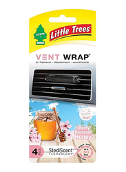 Little Trees Vent Wrap Cherry Honey Air Freshener, 4 Pack
