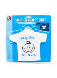 All Ride Baby Boy On Board Shirt, White, 17x20 cm