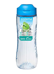 Sistema 800ml Tritan Active Plastic Water Bottle, Blue/Clear