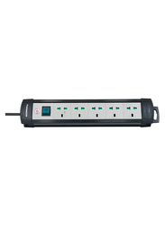 Brennenstuhl 5 Way Premium Extension Socket, 3-Meter Cable, Black
