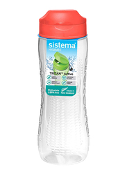 Sistema 800ml Tritan Active Plastic Water Bottle, Orange/Clear