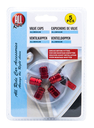 All Ride Aluminium Valve Caps, Red, 5 Pieces
