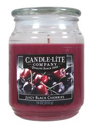 Candle Lite Everyday Essential Fresh Black Cherries Terrace Jar Candle, 510 g, Maroon