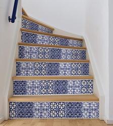 Brewster Wallpop Sintra Stair Stripe Wall Decal, Blue