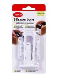 Clippasafe Drawer Locks, 3 Pieces, White