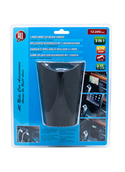 All Ride 3-in-1 Cup Holder Car Charger, 4.1A, Black