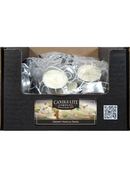 Candle Lite 4-Pieces Everyday Essential Tealight Creamy Vanilla Swirl Indoor/Outdoor Candle, Ivory