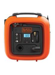 Black & Decker High Volume High Pressure Inflator, 12V, Black/Orange, 24x16x25 cm