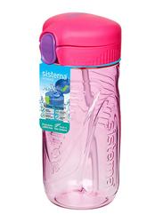 Sistema 520ml Tritan Quick Flip Plastic Water Bottle, Pink