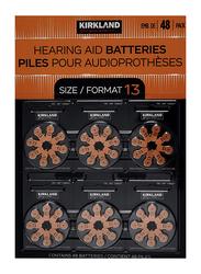 Kirkland Signature Hearing Aid Batteries Size Format 13, 1.45 Volt, 48 Pieces, Brown