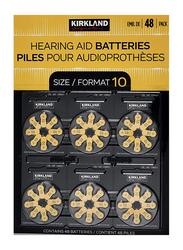 Kirkland Signature Hearing Aid Batteries Zinc Air, Size 10, 48 Pieces, Yellow