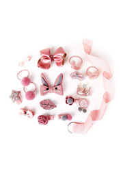 Arkmiido Barrettes and Clips Hair Accessories Set for Girls, Dark Pink