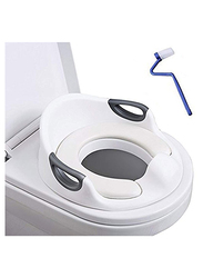 Baobe Kid's Plastic Potty Training Seat with Cushion Handle, Backrest and Toilet Brush, White