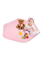 Arkmiido Kid's Hexagon Shape Plush Carpet Rug Play Mat for Princess Tent, Coral Pink