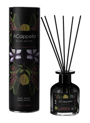 Acappella Black Edition Pink Pepper & Guaiac Wood Luxury Home Fragrance Scent with Amber Sticks, 100ml, Black