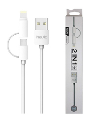 Havit 1-Meter 2-in-1 High Tech Cable, USB Type A Male to Lightning/Micro-B USB for Smartphones/Tablets, White