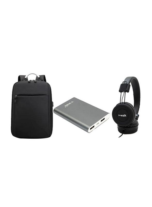V-Walk Anti-Theft Backpack Laptop Bag with USB Charging Port/HT-K3 5000mAH Power Bank/VWH-02 Wired Headphone, Black/Grey
