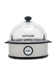 Nutri Cook Rapid 7-Eggs Electric Stainless Steel Egg Cooker, 360W, NC-EC360, Silver/Clear
