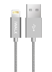 Iwalk 2-Meter Premium Certified Lightning Charging Cable, USB 2.0 Type-A Male to Lightning for Apple Devices, Silver