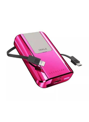Iwalk 10000mAh Power Bank, with Micro-USB Input, with Built-in Lightning/Micro USB Cable, SBS100Q, Rose Pink