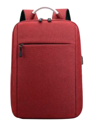 V-Walk Anti-Theft Notebook Backpack Laptop School Bag with USB Charging Port, Red